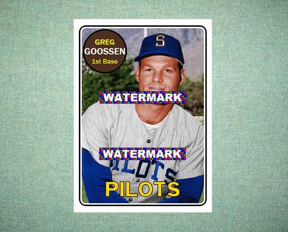 greg goossen seattle pilots custom baseball card 1969 style etsy