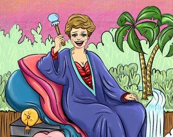 """Golden Girls Blanche Devereaux """"The Empress"""" Tarot Card Art Print"""