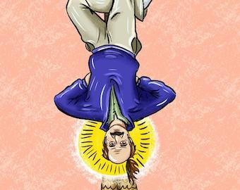 """Golden Girls Stan Zbornak """"The Hanged Man"""" Tarot Card Art Print"""