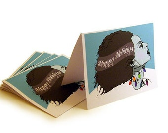 Bride of Frankenstein Happy Holiday  Cards and Envelopes- 5x7in