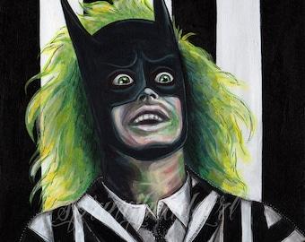 Beetlejuice Batman Mashup Print