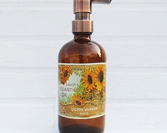 Sunflower Soap Dispenser |  Country Kitchen Decor | Sunflower Decor | Lotion Dispenser | Bathroom Accessories