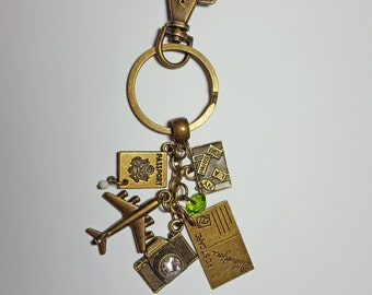 World Traveler Keychain | Gifts For Travelers | Travel Key Chains | Bag Charms | Purse Charms | Going Away Gifts | Key Rings | Keyring