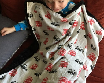 """British Double Decker Bus & Taxi Black and Red Baby Blanket: """"Emma Dilemma"""""""