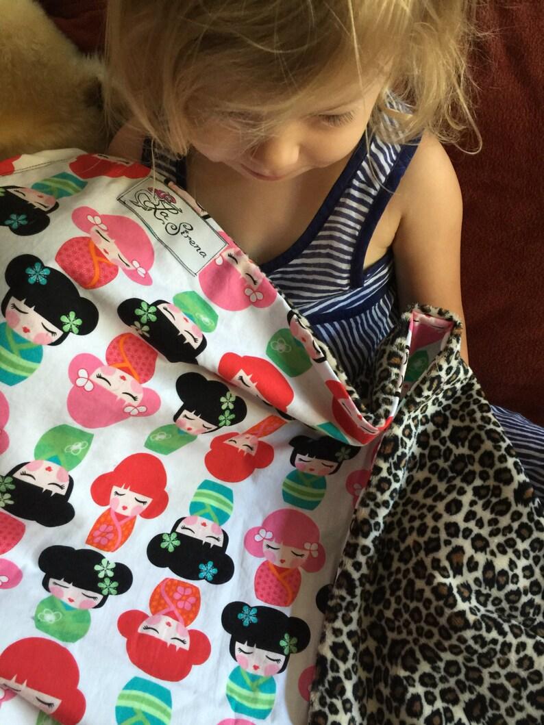 Colorful Japanese Kimono Girls /& Velvety Cheetah Minky Baby Blanket Charlie Girl