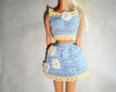 Crocheted Custom Order Denim and daisies Fashion Doll Barbie Outfit