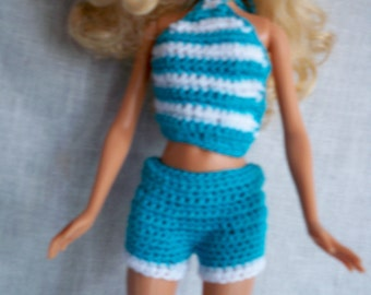 Shorts and Halter Top for Barbie Dolls, Hand crocheted custom made