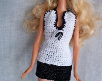 Black Mini Skirt and Halter Top For Fashion Dolls like Barbie, Hand Crocheted, Custom Made