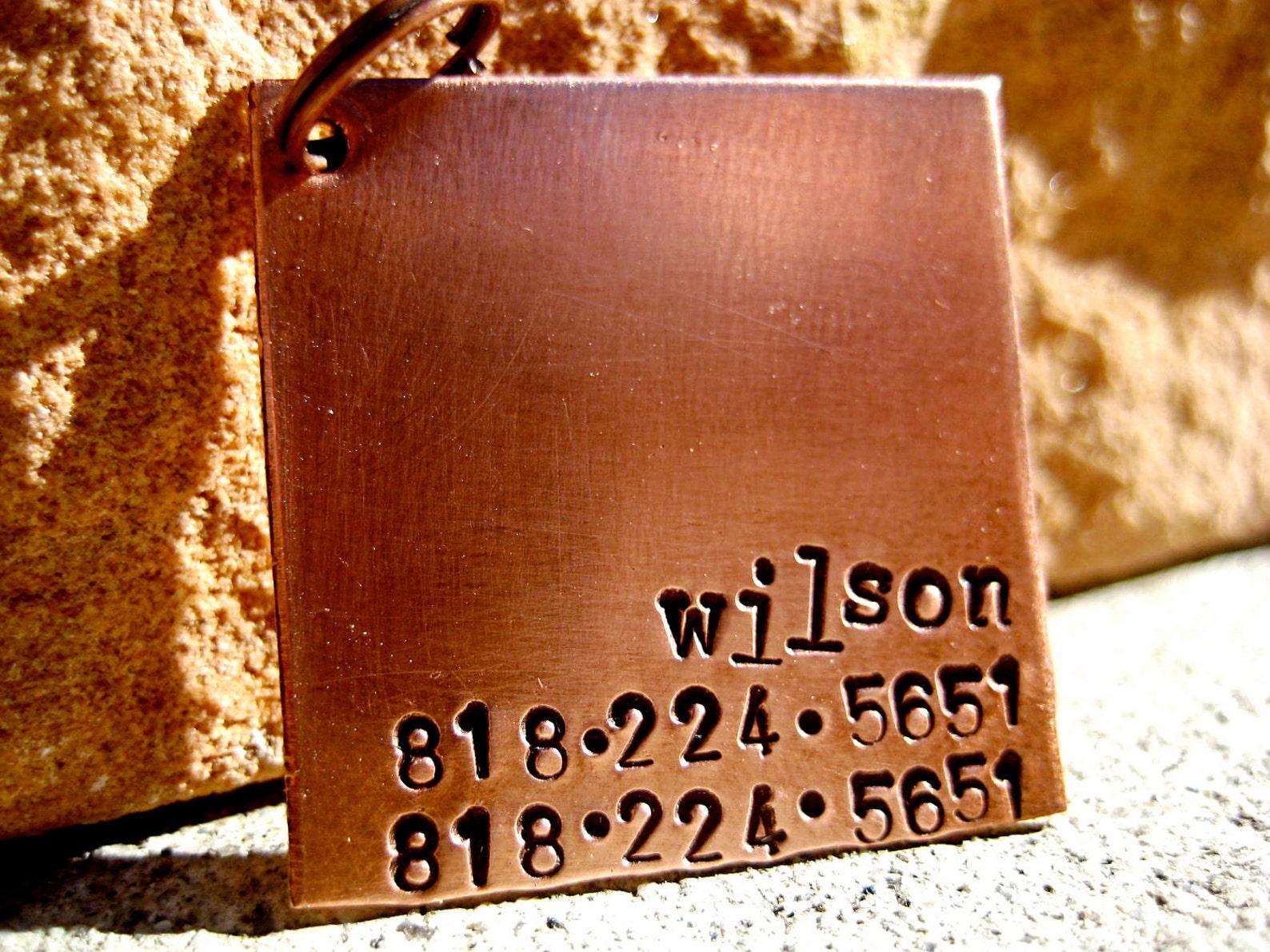 Handstamped pet tag in copper