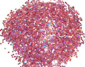 Rose Nail Glitter, Rose Holographic, SOLVENT RESISTANT, HOLOGRAPHIC Glitter, 0.062 Hex, Glitter Nail Art, Glitter Nail Polish, Glitter Craft