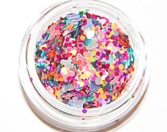 Summer Heat Mix, Solvent Resistant, Glitter Mix, 5 GRAM JAR. Raw Nail Glitter Mix, Nail Polish, Nail Art Glitter, Raw Glitter Mix, Nail Art
