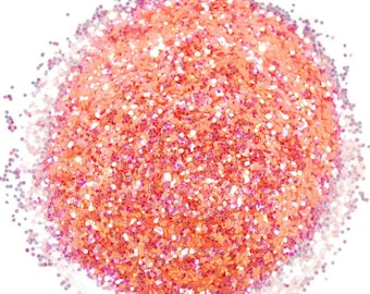 Peach Shimmer Glitter, Peach Glitter, 0.040 Hex, Glitter, Craft Glitter, Peach, Pink Glitter, Loose Glitter