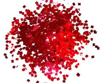 Red Square Glitter, Red Glitter, SOLVENT RESISTANT, Glitter, 0.125 x 0.125 SQUARES, Glitter Nail Art, Glitter Nail Polish, Glitter Crafts