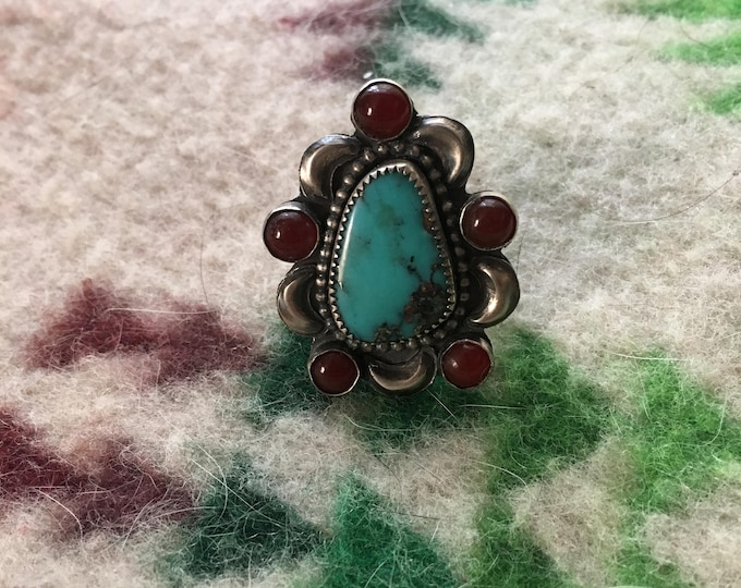 Turquois Carnelian Cluster Ring