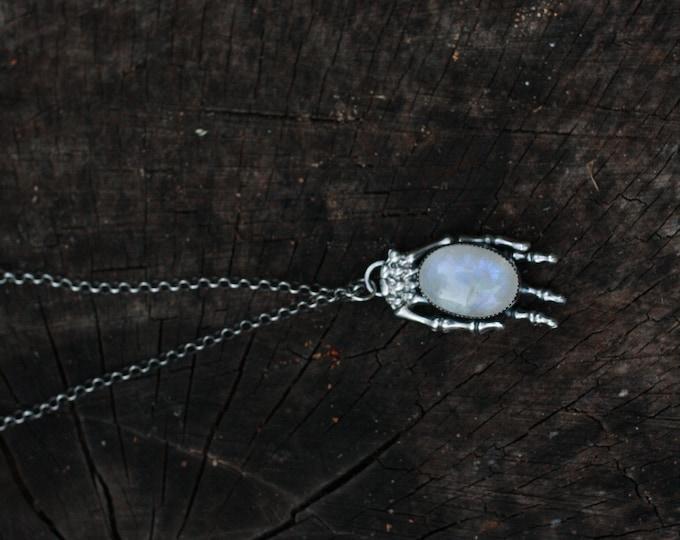 Moonstone skeleton hand necklace