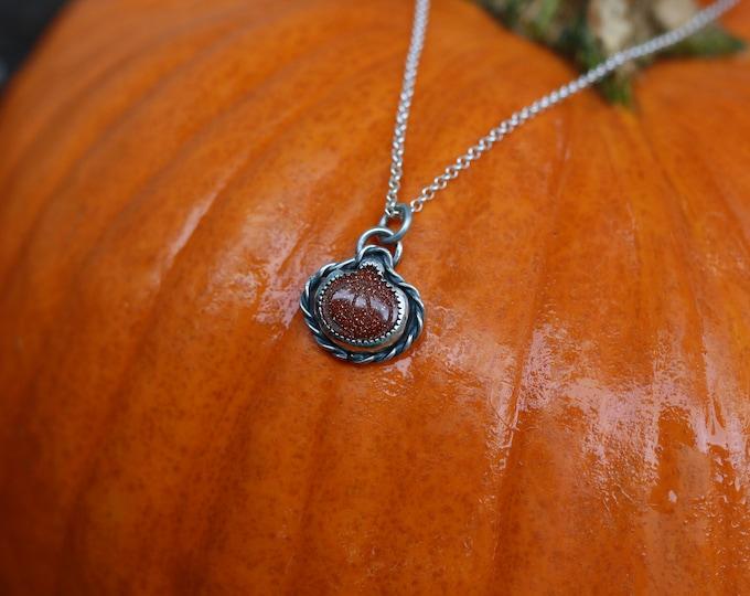 Goldstone pumpkin jack'O' lantern necklace