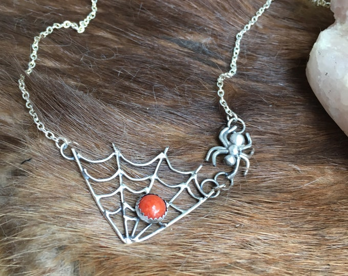 Spiderweb and sunset agate Necklace