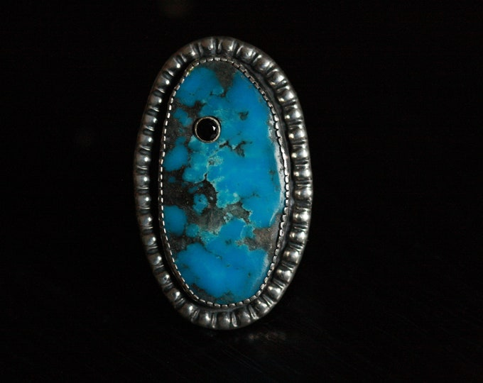 Turquoise and black spinel statement ring
