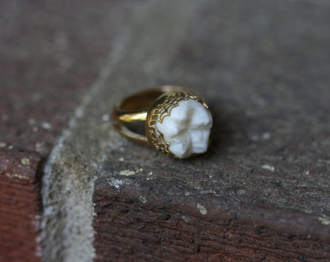 Brass spiderweb tooth ring Halloween edition (Made in your size)