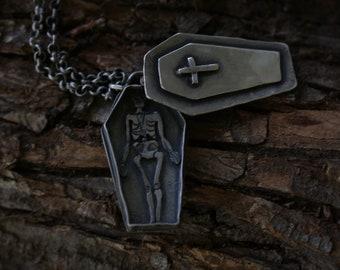 Momento Mori Skeleton in Coffin Necklace