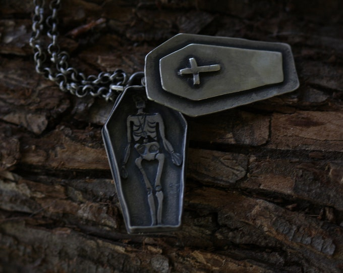 Momento Mori Skeleton in Coffin Necklace