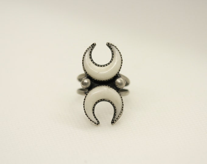 White Double Horn Moon Ring Made to order in your size