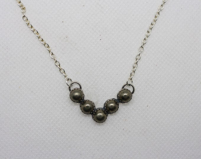 Pyrite Chevron cluster necklace