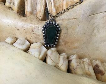 Momento Mori Moss Agate Mini Coffin Necklace
