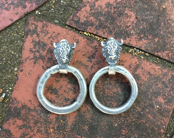 Buffalo door knocker earrings