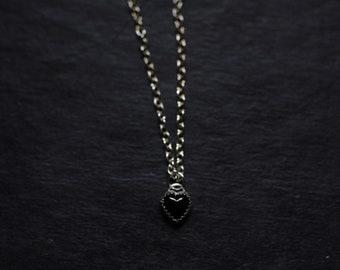 Tiny black heart necklace