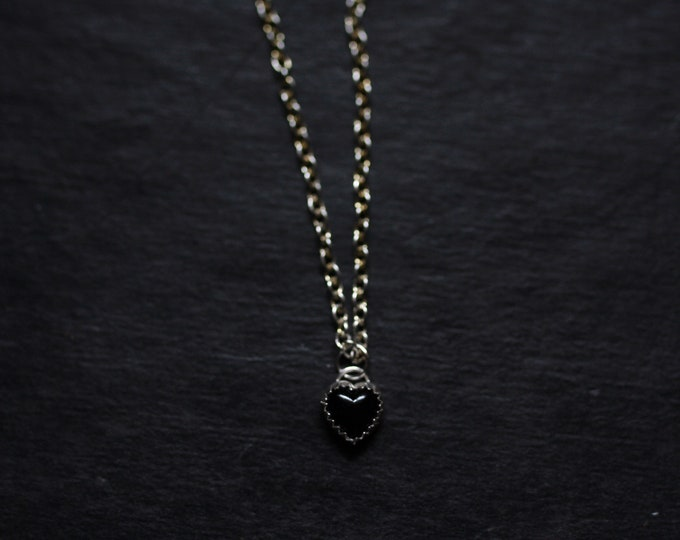 Tiny black heart necklace