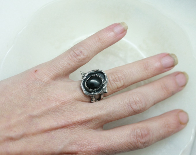REDUCED! Black Onyx Thorn ring size 5