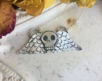 Death's Head Winged Skull Necklace Made To Order