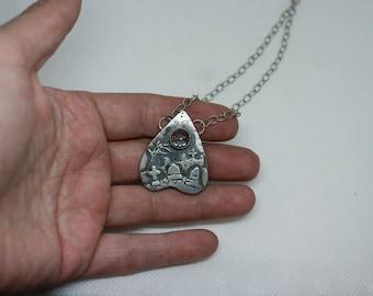 Clear Quartz Cemetery Planchette Necklace