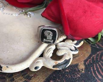 Unisex Momento Mori Skull Enameled Signet Ring