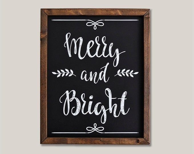 Merry and Bright Black and White Holiday Wooden Framed Canvas Wall Art