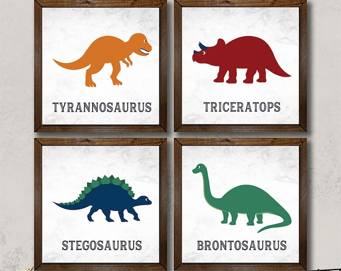 Dinosaurs Rustic Vintage Wooden Framed Canvas Print Set