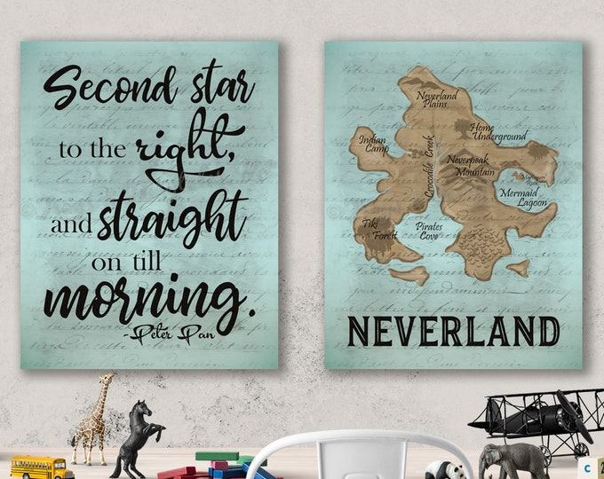 Neverland Peter Pan Gender Neutral Playroom Canvas Wall Art Set