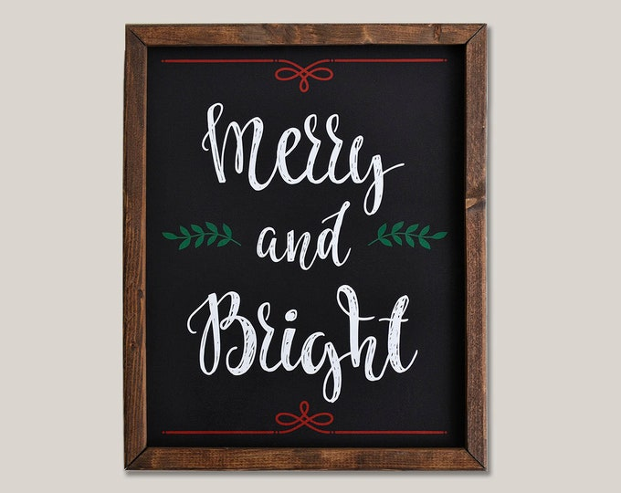 Merry and Bright Holiday Wooden Framed Canvas Wall Art
