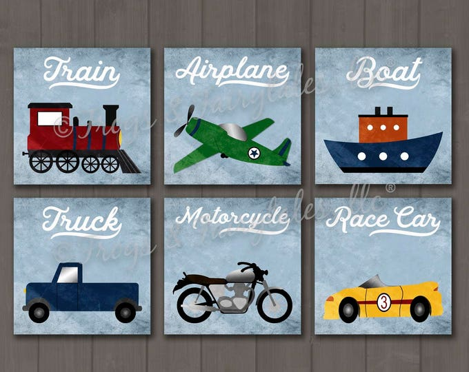 Transportation Themed Set of 6 Canvas Prints, Boy Decor, Nursery, Toddler Room
