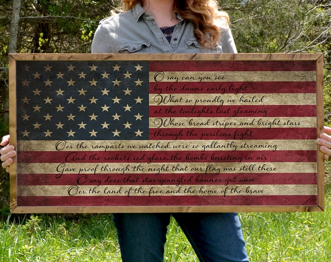 """Star Spangled Banner 36""""x18"""" Large American Flag Vintage Worn Rustic Wooden Framed Canvas Wall Art"""