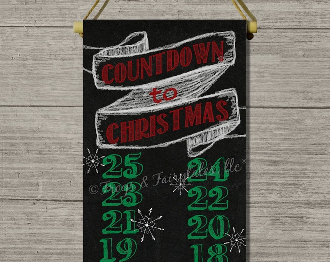 Countdown To Christmas Chalkboard Look Hanging Canvas Print