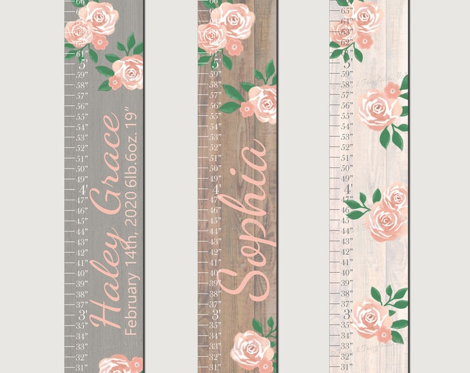 Coral Roses Flowers Wood Girls Canvas Growth Chart Height Chart Ruler