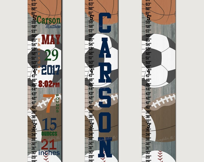 Sports Rustic Canvas Growth Chart Height Chart Ruler