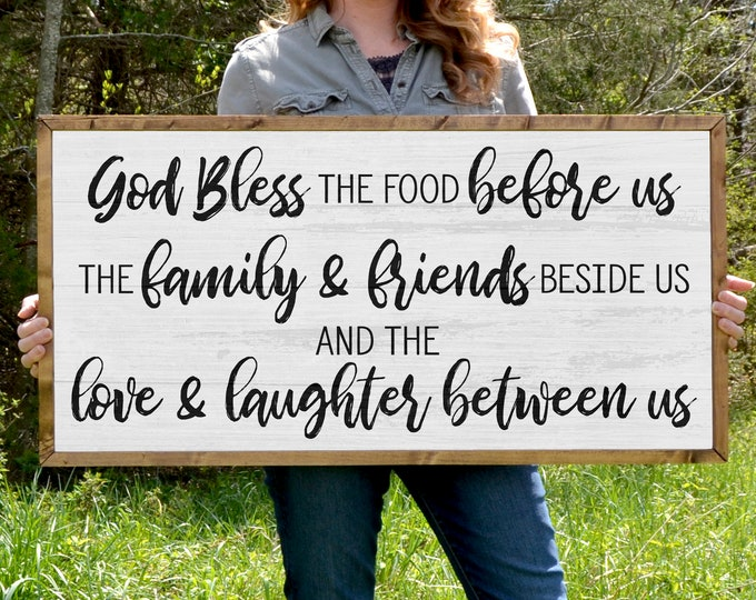 "Bless the Food Before Us Rustic Dinner Prayer 36""x18"" Dinning Room Sign Wooden Framed Canvas Print"