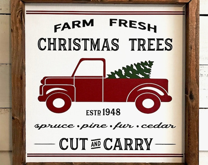 Farm Fresh Christmas Trees Vintage Red Truck Wooden Framed Canvas Wall Art