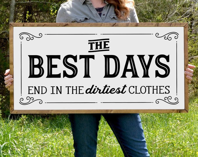 """The Best Days End in the Dirtiest Clothes 36""""x18"""" Vintage Laundry Room Sign Wooden Framed Canvas Print"""