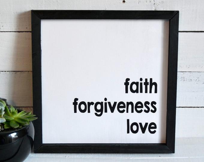 Faith Forgiveness Love Rustic Framed Canvas Wall Art