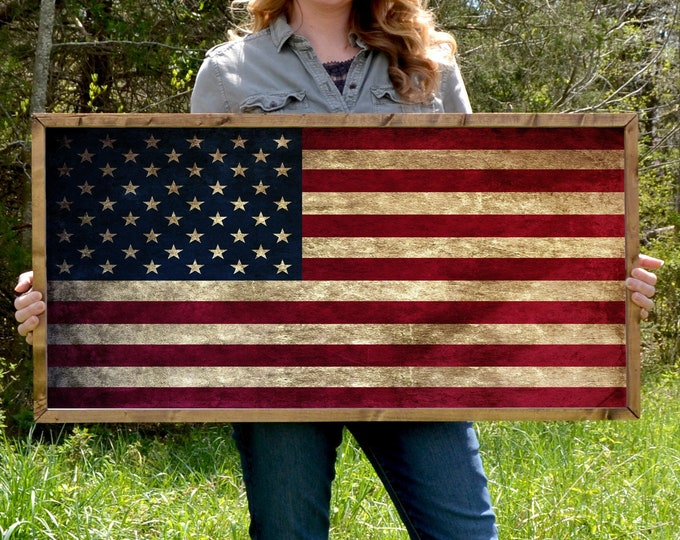 "American Flag 36""x18"" Vintage Worn Rustic Wooden Framed Canvas Wall Art"