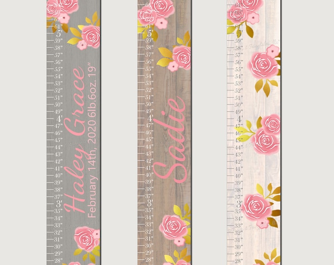 Pink and Gold Flowers Roses Wood Canvas Growth Chart Height Chart Ruler
